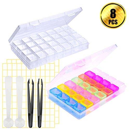 WXJ13 2 Stück 28 Raster Diamant Box Diamant Gemälde Zubehör mit 2 Stück Pinzette und 2 Tabelle Label Stick für die Diamant Malerei, DIY Craft (Edelstein-pinzette)