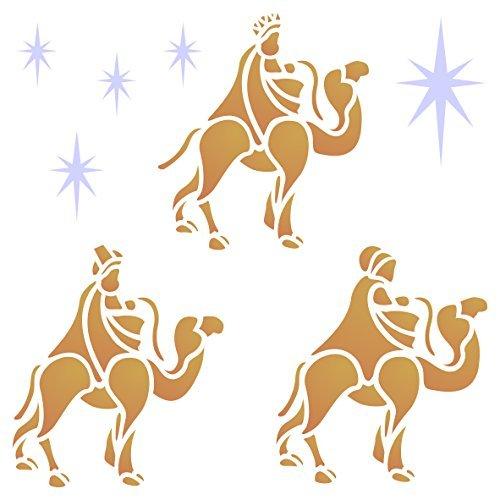 Schablonen für Wände-Weisen Schablone-wiederverwendbar Weihnachten Krippe Wall Schablonen für Malerei-zur Verwendung auf Papier Projekte Wände Böden Stoff Möbel Glas Holz etc.. L