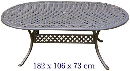 Gartentisch, Aluguss (oval, 182 x 106 cm)