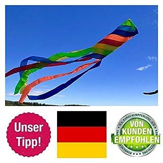 molinoRC Wunderschöner Windsack | Rainbow leuchtende Farben | D 15cm | L 130cm | wetterbeständig Windsocke | Windspiel | Wetterfahne | stabile Aufhängung | Regenbogen |  |  | ✅ |  |