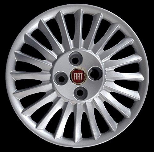 Copricerchi-Copriruota-Coppa-15-Pollici-Fiat-Grande-Punto-Logo-rosso