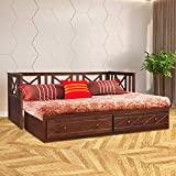 HomeTown Victoria Solid Wood King Size Bed with Trundle in Antique Cherry Colour