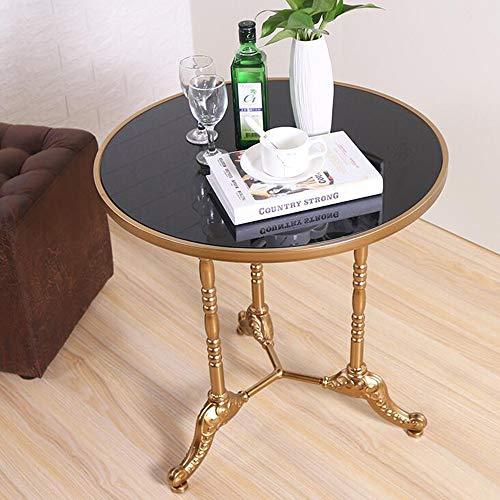 DEO Table en métal ronde en verre trempé 60 * 60 * 60cm