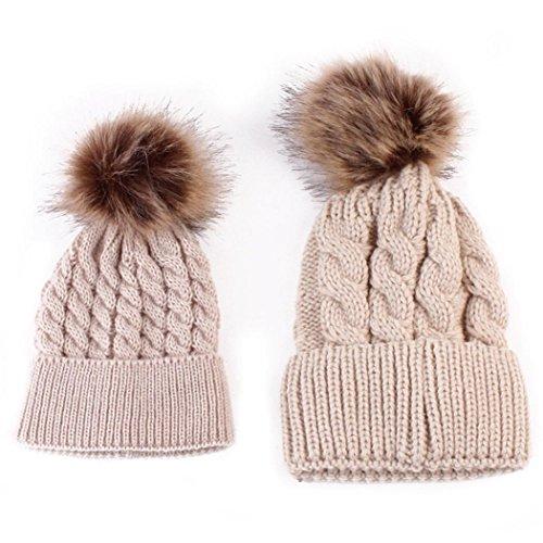 2pcs cappello set, feixiang mamma e bambino maglieria tenere cappello caldo-- lana di maglia (khaki)