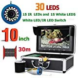 AINGOL 10 Pulgadas 1000TVL Fish Finder cámara de Pesca submarina 15pcs Leds Blancos + 15pcs lámpara infrarroja para Hielo/mar/Pesca del río,30m