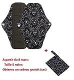 Serviettes hygièniques lavables Covermason Bambou réutilisables lingette lavable menstruel serviette hygiénique de Pad Mama (s, Noir)