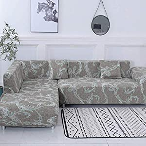 CAVEEN Sofa Überwürfe 2 teilig 3 Sitzer + 3 Sitzer, Elastisch Stretch Sofabezug L Form 2er Set mit 2 Stück Kissenbezug Sofabezüge Sofa Überzug Couch Bezug Sofaüberwurf L Form Sofa Abdeckung Braun