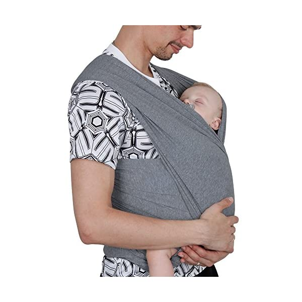 Lictin Baby Wrap Carrier Adjustable Breastfeeding Cover Cotton Sling Baby Carrier for Infants up to 35 lbs/16kg, Soft and Comfortable (Dark Gray) Lictin 💝Practical, safe, versatile and easy to use; Sturdy fabric holds your baby safely and securely 💝Allow your hands to be free: free your hands with this baby sling; wash dishes, go for walks, go shopping or walk your dog while quieting a restless baby 💝Enhance the bond with babies who all love being close to mommy; Stay close to mom's heart, a baby can hear your heart beating and feel the warmth from your body in the sling where he can feel peace of mind 2