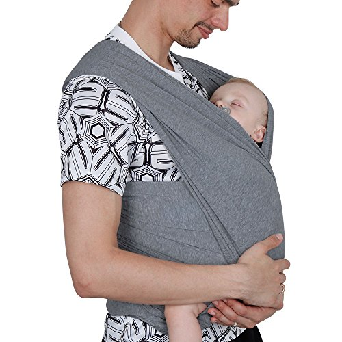 Lictin Baby Wrap Carrier Adjustable Breastfeeding Cover Cotton Baby Carrier for Infants up to 35 lbs/16kg, Soft and Comfortable (Dark Gray)