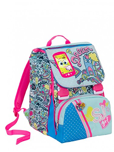 Zaino scuola sdoppiabile SJ GANG NEW - GIRL - Azzurro Rosa - FLIP SYSTEM - 28 LT elementari e medie 3 pattine sfogliabili