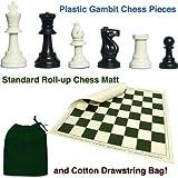 Plastic Gambit Chess Set, Roll-up Mat and Plastic Box