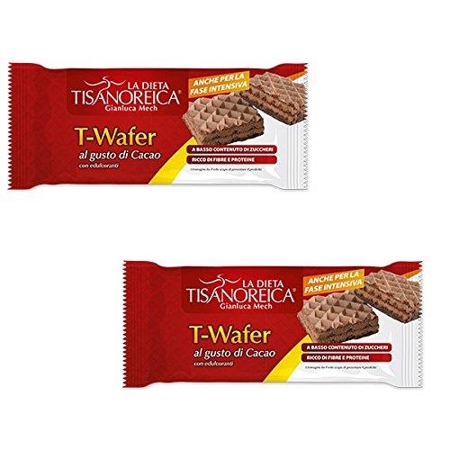 2 Tisanoreica T-WAFER AL GUSTO DI CACAO 36gX2 SNACK DIETETICO RICCO DI FIBRE - Cacao Ricco