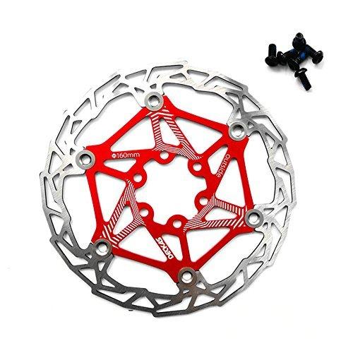 Freno de disco flotante de acero inoxidable para bicicleta, 160 mm, giratorio; disco con pernos para ciclismo de montaña con pernos, rojo