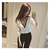 Evtech (tm) Frauen Knit V-Ausschnitt Langarm-Mode Wilde Casual Style Strickjacke, die Hemd Weiß - L