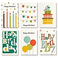 Best Paper Greetings Colorful Happy Birthday Note Cards Greeting Cards - 6 Bright Designs Includes Presents, Candles, Balloons, Star Buntings, Envelopes Included - 48 Pack