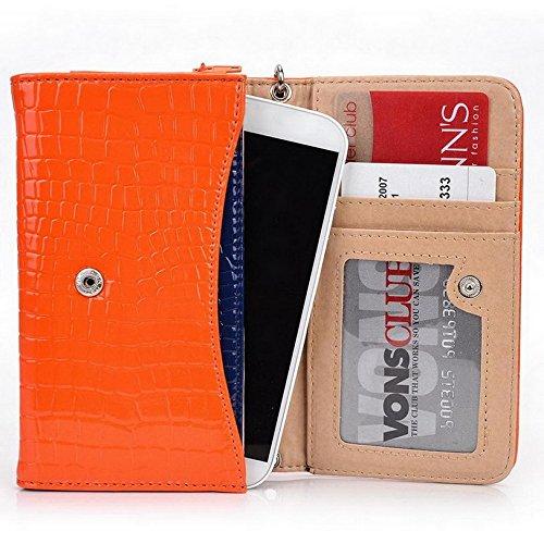 Kroo Croco Étui portefeuille universel pour smartphone avec bracelet mobile Lame pour ZTE Kis 3/G rouge - rouge Orange - orange