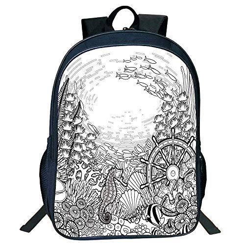 ck, Schultasche Travel Bookbag, Stylish Unisex School Students Aquarium,Graphic Coral Sea Horse Ocean Fish Sunken Ship Line Art Drawing Decorative,Black White Kids, ()