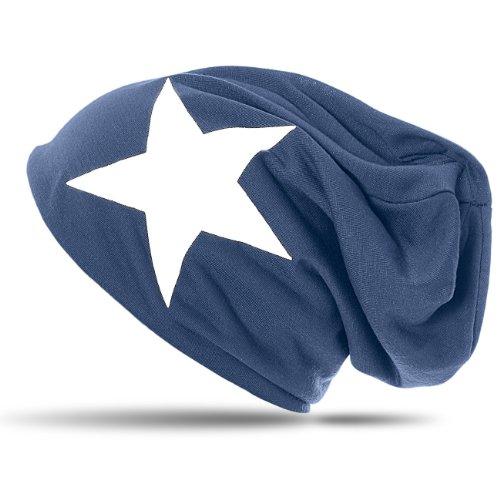 CASPAR MU069 Bonnet Slouch Beanie classique et léger avec étoile bleu jeans