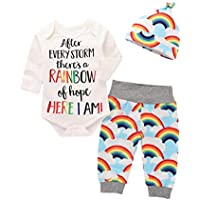 Moginp Overall,3PCS Jumpsuit Infant Baby Mädchen Jungen Brief Print Karikatur Drucken Strampler +Hose+Hut Regenbogen Hosen Outfits Set