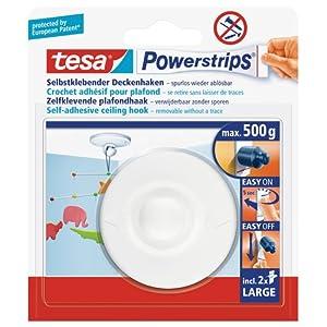 Tesa Powerstrips Deckenhaken (Selbstklebender, drehbarer Haken in Weiß zum Aufhängen von Decken, Dekoration, mit tesa Powerstrips Large, bis zu 500 g Halteleistung)