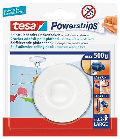 tesa Powerstrips Deckenhaken / Drehbarer Haken aus hochwertigem Kunststoff zum Kleben / Bis 0,5kg / Rüchkstandslos entfernbar / 1