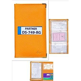 Schutzhülle, Leder, orange, Grau, Kfz-Papiere Führerschein mit der Zulassung zum Selbstgestalten