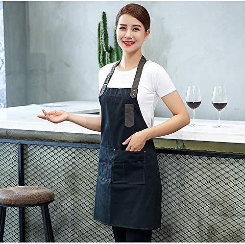 (Yuloen Küchenschürzen Korean Fashion Denim Schürze Western Restaurant Bar Kaffee Backstudio Arbeitskleidung Herren und Damen (Farbe: Navy) Kochschürze des Chefkochs (Farbe : Navy))