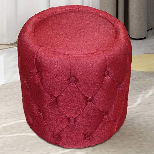 ZXQZ Hocker Europäischen Tuch Stoff Runde Hocker 43x40 cm Wohnzimmer Sofa Bank Dressing Hocker (Farbe : Red)