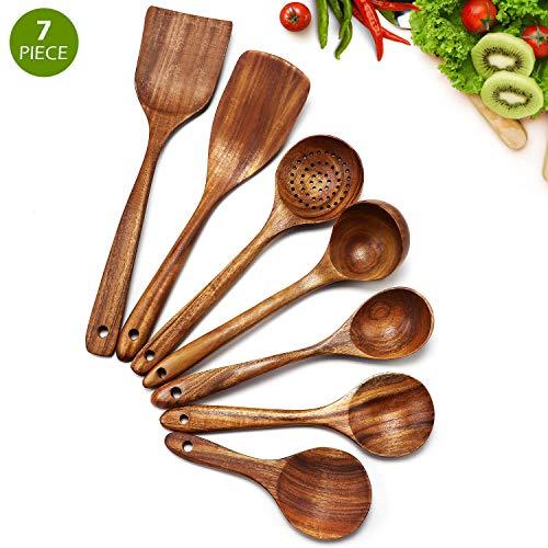 Cosyres - Set di utensili da cucina in legno naturale, antigraffio e resistente al calore