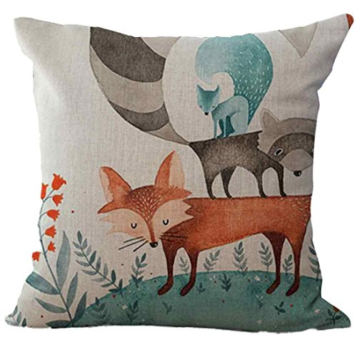 18 Quadrat Kissen (Kissen Kissenbezug Fuchs Muster Bedrucktes Sofa Bett Home Dekoration Kissenbezug Kissenbezug 45X45cm Kissenbezug (D))