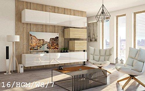 exklusive wohnwaende HomeDirectLTD Wohnwand Future 16 Anbauwand Schrankwand Moderne Wohnwand Exklusive Mediamöbel Möbelset Wohnzimmer Matt/Hochglanz (16/HGM/WS/7, Möbel)