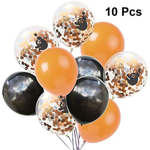 Amosfun 10pcs Halloween Luftballons Ghost Printing Latex glänzende Paillette Ballon Kit für Haunted Mansion Halloween beängstigend Thema Party Decor (Orange schwarz)