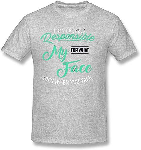 KAYLRR Fashion Tops Herren Ich kann Nicht für das verantwortlich gemacht Werden, was Mein Gesicht TUT, wenn Sie mit niedlichen Worten sprechen. Kurzärmliges Baumwoll-T-Shirt