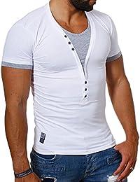 Carisma t-shirt col v pour homme effet double col v profond slim fit tee t-202 contraste optique