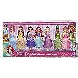Disney prinsessor-festklänningsset bestående av Arielle, Aurora, Belle, Askungen Jasmin, Rapunzel och Tiana modedockor