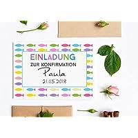 Personalisierte Einladungskarte zur Kommunion oder Konfirmation - Klapkarte inkl. Umschlag