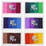 CCINEE almohadillas de tinta arcoiris Juego de 6DIY Multicolor Craft 24colors-pink, amarillo, morado, café, verde, azul