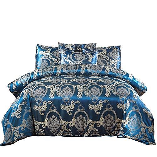 Pinch Falte Bettbezug-Sets, Weiß Queen Navy ()