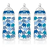 NUK 62736 Hearts and Elephants Baby Bottle with Perfect Fit Nipple, 10 Ounces, 3 Pack, Assorted Colors by NUK