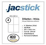 Jacstick 100 Blatt DIN A4 selbstklebende Etiketten. (4 Etiketten / Blatt - 105x148)