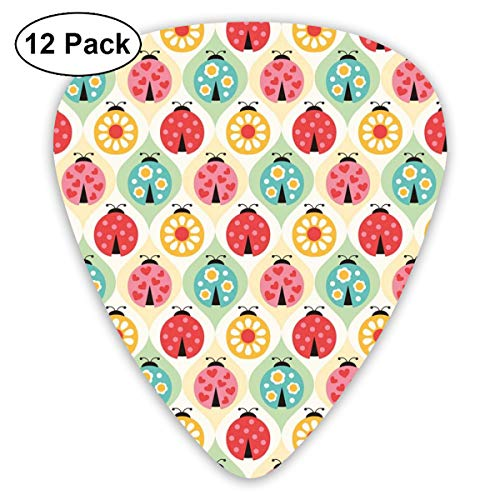 Celluloid Guitar Picks - 12 Pack,Abstract Art Colorful Designs,Ladybugs Cartoon Pattern With Retro Polka Dots Daisy Blossoms And Little Hearts Love,For Bass Electric & Acoustic Guitars. Basso Blossom