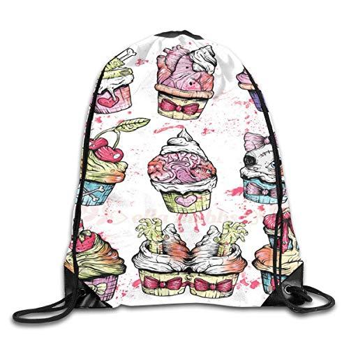 (tgkze Drawstring Backpack Gym Bag Travel Backpack Zombie Cupcake Small Drawstring Backpacks for Women Men Adults)