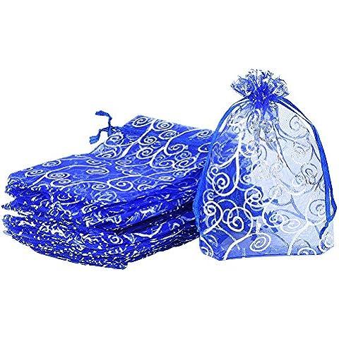 eBoot 50 Pezzi Sacchetti Organza Buste Blu 0rganza sacchetti del Regalo di Favore Della Festa di Nozze Sacchetti
