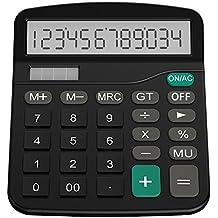 Helect Taschenrechner Standard Tischrechner 12-stelliger Dual-Power (Solar und Batterie) (Schwarz)