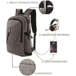 Asort Fabric 40 Ltr Grey Laptop Backpack With USB Charging Port
