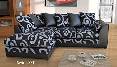New Dylan Zina Black Swirl Fabric Corner Sofa, Left and Right (Swirl LEFT) by Abakus Direct
