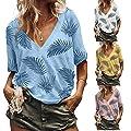 Yvelands Damen T-Shirt Sommer Beiläufige Lose V-Ausschnitt Kurzarm Print Bluse Tops