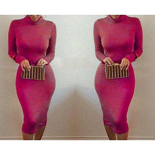 Vestiti da sera femminili da festa di stirata del Midi della fasciatura del manicotto lungo del manicotto delle donne Dress Bodycon Highdas Rose Rosso