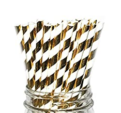 Foil Gold Stripes Paper Straws- Party Disposable Straws (100 Straws)