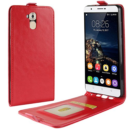 HualuBro Oukitel U16 Max Hülle, Premium PU Leder Leather HandyHülle Tasche Schutzhülle Flip Case Cover für Oukitel U16 Max Smartphone (Rot)
